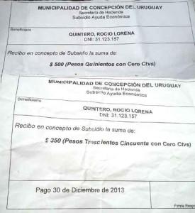 """Recibo que percibió Lorena de 500 pesos en concepto de """"Subsidio de Ayuda Económica"""". Lo emitió la Secretaria de Hacienda de la Municipalidad"""