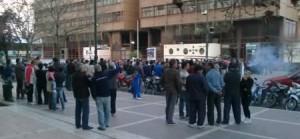 Los trabajadores protestando en la plaza Ramírez, en el 2013. Archivo El Miércoles Digital.