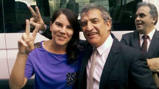 Josefina Minatta, escrachadora de Cavallo, junto a Urribarri, que en los 90 era defensor acérrimo de las políticas del escrachado.