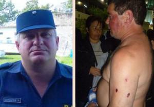 El comisario inspector Antoniow y Jorge López, al dia siguiente de la agresión.