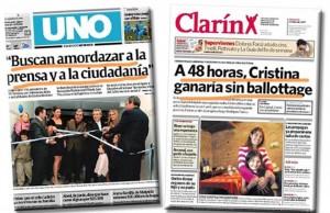 Clarín, cuando trabajaba para el triunfo de Cristina en 2007. Y el grupo Clarin ya después del divorcio.