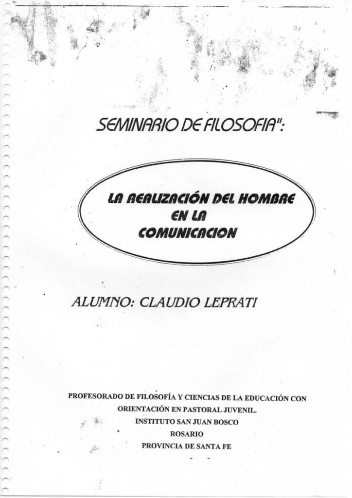 La portada del ensayo de Lepratti en su seminario de Filosofía.